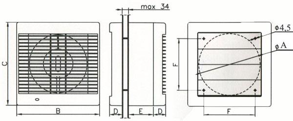 Оконный вентилятор Dospel POLO 6 OK Ø150 S.